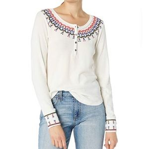 NWT Lucky Brand Thermal Embroidered Top